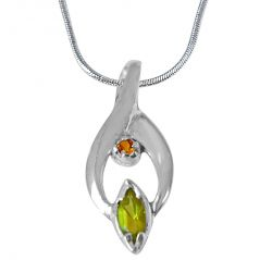 Surat Diamond Trendy Marquise Shaped Green Peridot, Round Citrine and 925 Sterling Silver Pendant with Silver Finished 18 IN Chain SDP419