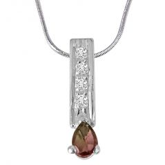 Surat Diamond Trendy Pear Shaped Brown Tourmaline, Round White Topaz and 925 Sterling Silver Pendant with 18 IN Chain SDP423