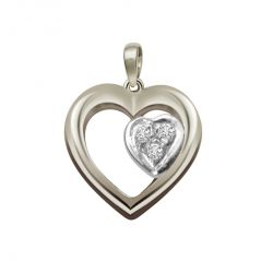 Surat Diamond - Symbol Of Love Sterling Silver Pendant -sdp51 - Valentine Gifts For Her