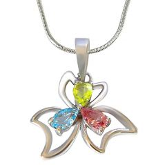 Surat Diamond Pear Shaped 925 Sterling Silver Flower Pendant with 18 IN Silver Finished Chain SDP510
