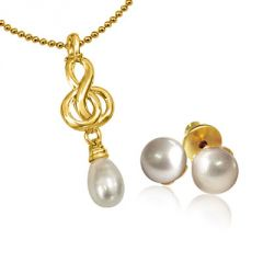 Surat Diamond Fancy Freshwater Pearl & Gold Plated Pendant With Chain & Matching Studs SDS151
