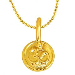 Surat Diamond Om Shaped Gold Plated Sterling Silver Pendant With Gold Plated Chain For All - Fine Jewellery & Coins