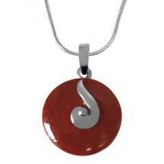 """Surat Diamond Round 18mm Disc Shaped Brown Jasper & Sterling Silver Pendant with Silver Finished Chain 18"""" SDS228"""