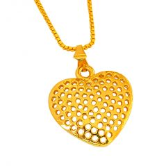 Surat Diamond Small Heart Shaped Gold Plated Pendant with Chain for Girls (Code - SDS263)