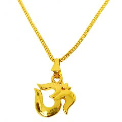 Surat Diamond Om Religious Gold Plated Pendant with Chain  (Code - SDS271)