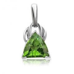 Surat Diamond Trillion Shape Green Peridot Pendant  in Sterling Silver SDS94