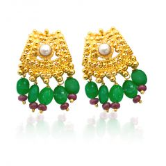 Gemstone Earrings - Surat Diamond A Very Traditional Pair of Gold Platted Earring SE107