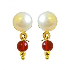 Surat Diamond Button Pearl Studs with Dangling Red stone Earrings SE159