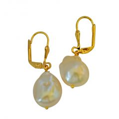 Surat Diamond Unique Shaped Real Natural Peach Coloured Baroque Pearl & Gold Plated Hanging Earring SE233