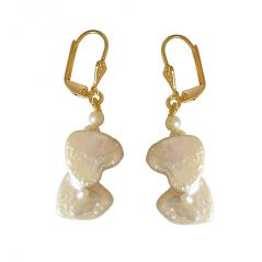 Surat Diamond Real Natural Double Heart & Round Pearl & Gold Plated Hanging Earrings SE234