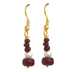 Surat Diamond Real Dark Red Ruby Beads & Freshwater Pearl Gold Plated Hanging Earrings SE238