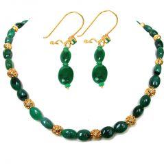 Surat Diamond Genuine Oval Emerald Bead Necklace & Earring Set SN185+SE100