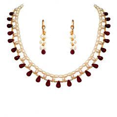 Surat Diamonds Women's Clothing - Surat Diamond Marvelous Single Line Rice Pearl And Ruby Necklace SN352SE126_2