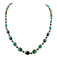 Surat Diamond Real Oval Green Emerald, Ruby Beads & Silver Plated Beads Necklace for Women SN676