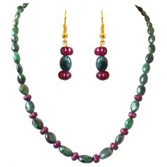 Gemstone Jewellery Sets - Surat Diamond Single Line Real Oval Green Emerald & Flower Shaped Red Ruby Beads Necklace Earring Set SN688