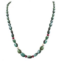 Surat Diamond Single Line Real Oval Green Emerald, Red Ruby Beads & Silver Plated Ball Necklace SN690