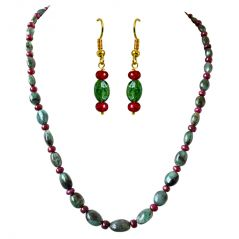 Surat Diamond Real Oval Green Emerald & Red Ruby Beads Necklace Earring Set SN691