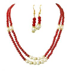 Surat Diamond 2 Line Red Stone & White Shell Pearl Necklace & Earring Set SN692