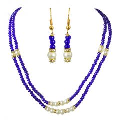 Surat Diamond 2 Line Blue Stone & White Shell Pearl Necklace & Earring Set SN693