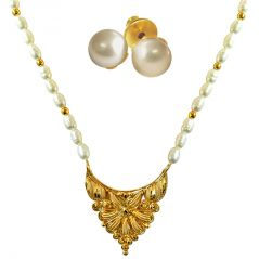 Pearl Jewellery Sets - Surat Diamond Traditional Gold Plated Pendant, Real Rice Pearl & Gold Plated Beads Necklace with Pearl Studs SN698