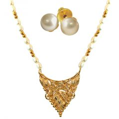 Pearl Jewellery Sets - Surat Diamond Traditionally Designed Gold Plated Pendant, Real Rice Pearl & Gold Plated Beads Necklace with Pearl Studs SN702