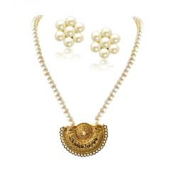 "Surat Diamond Gateway of Women""s Heart Gold Plated Pendant & Single Line Real Pearl Necklace SN721"