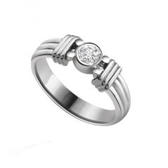 Surat Diamond Diamond Solitaire Ring in 925 Sterling Silver for Engagement/Wedding SSR14
