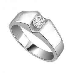 Surat Diamond Diamond Solitaire Ring in 925 Sterling Silver for Engagement/Wedding SSR15