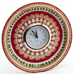 Marvel In Marble - Gold Embossed Kundan Work Alarm Clock_52