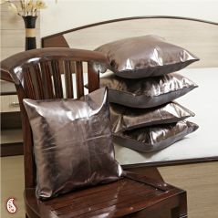 Metallic Grey Leather cushions