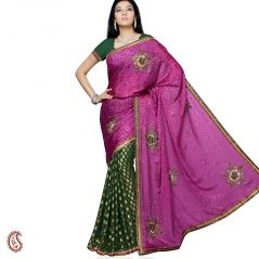 Violet Green Brasso handwork Saree