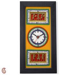 Orange and Black Tribal Art Wall Clock