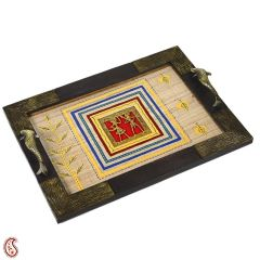 Hand painted Wooden Tray with Dhokra work