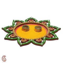 Floral Wood and Clay Work Arthi Thali with hand painted motifs