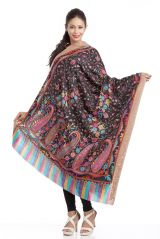 Floral & Paisley Printed Black Woolen Shawl With Rich Border