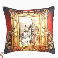 Rajastani Royals Digital Print Poly Velvet Cushion Cover