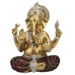 Charming Gold Finsh Ganesha Showpiece With Modak In Hand