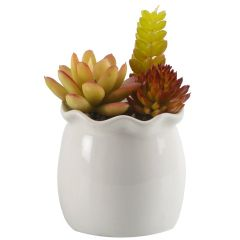 Colorful Artificial Plant With Glossy Finish Ceramic Pot