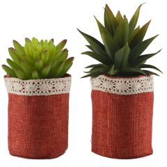 Set Of 2 Artificial Plants With Ceramic Pots