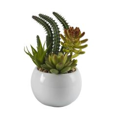 Green Shaded Artificial Plant With Glossy Finish Pot