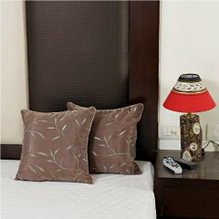 Beaver Brown Pure Silk Cushion Cover set with Hand embroidery