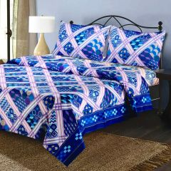 Multi Blue Prints Pure Cotton Double Bed Sheet With 2 Pillow Covers