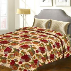 Pure Cotton Double Bed Cover with Floral Print & Katha Work