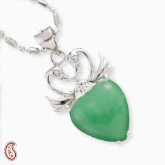 Green Agate and Silver Swan Pendant