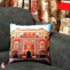 Suraj Pole Gate Amber Jaipur Velvet Cushion Cover