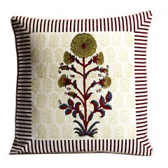 White, Green & Maroon Cotton Cushion Cover Set with Floral & Block Print