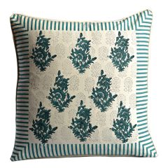 Off White & Green Cotton Cushion Cover Set with Block Print