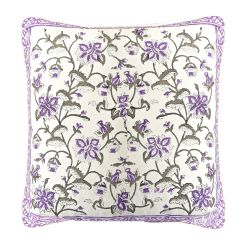 Off White & Purple Cotton Cushion Cover Set with Jaal Print