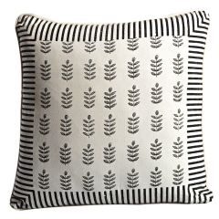 Off White, Black & Grey Cotton Cushion Cover Set with Block Print