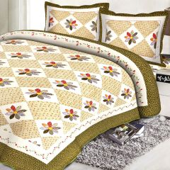 Multicolor Cotton Contemporary Print Double Bed Cover 17